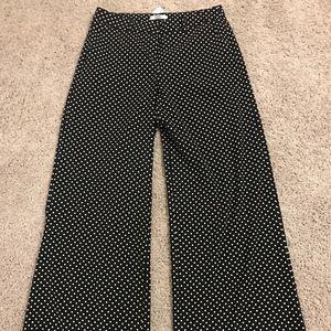 Wide leg black and white polka dot pants size 2
